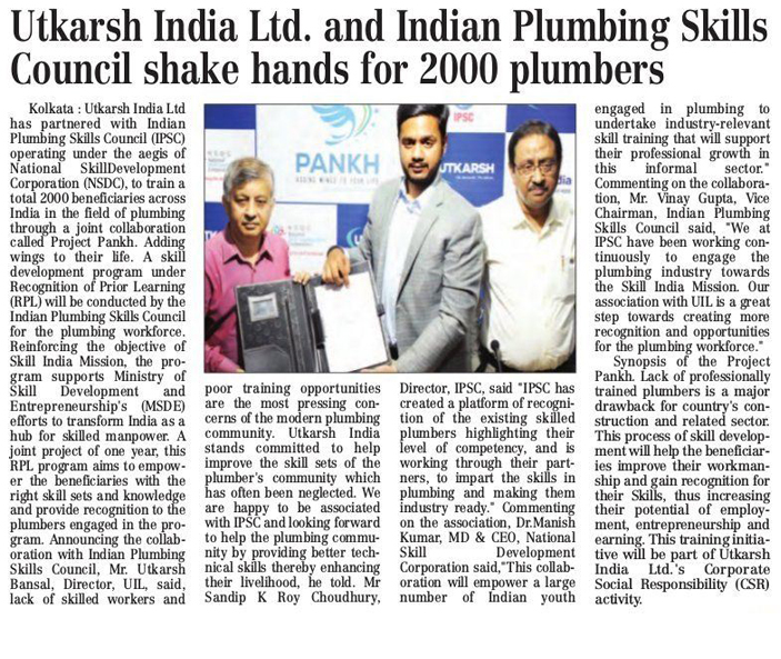 Utkarsh India Ltd and Indian Plumbing Skills Council Shakes Hands For 2000 Plumbers